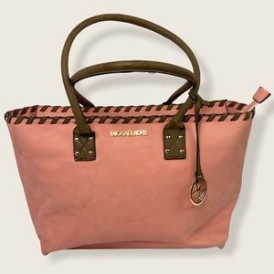 Michael Kors Large Pink Brown Braided Leather Tote